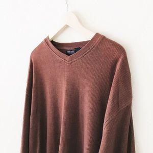 rust brown vintage ribbed v-neck sweater